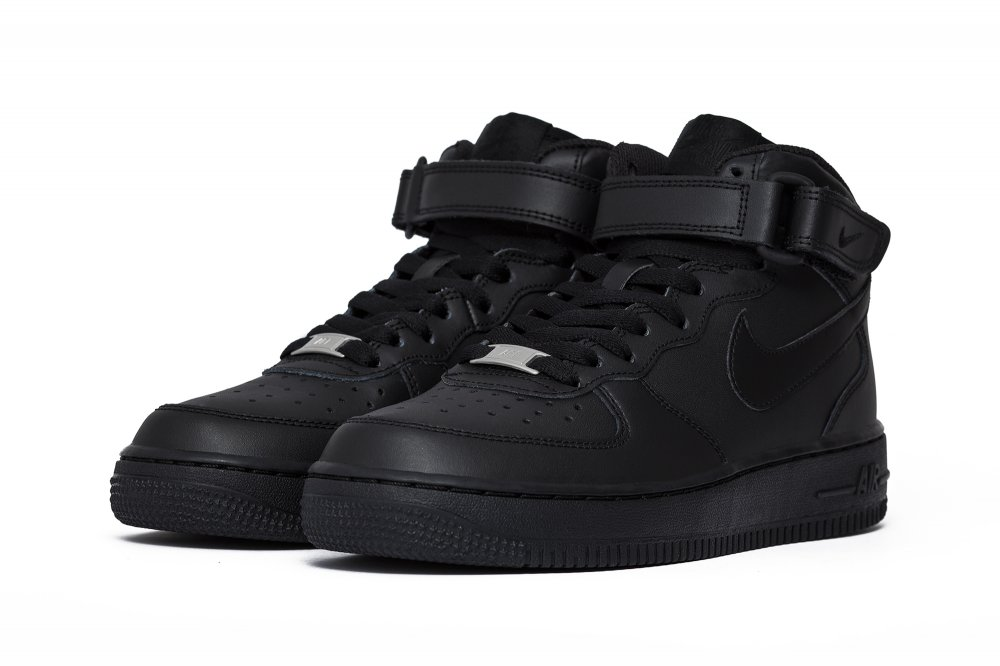 "nike air force 1 mid (gs) ""all black"" czarne"
