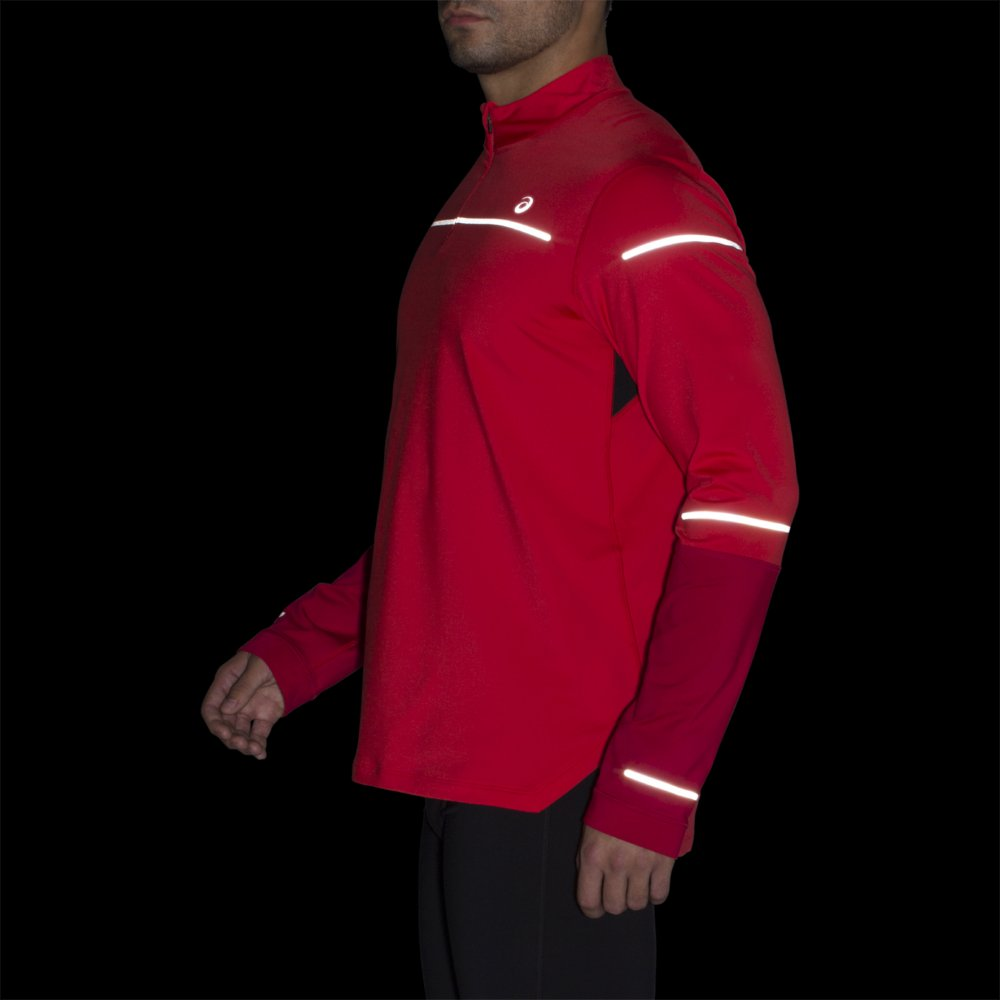 asics lite-show winter long sleeve 1/2 zip red alert / samba