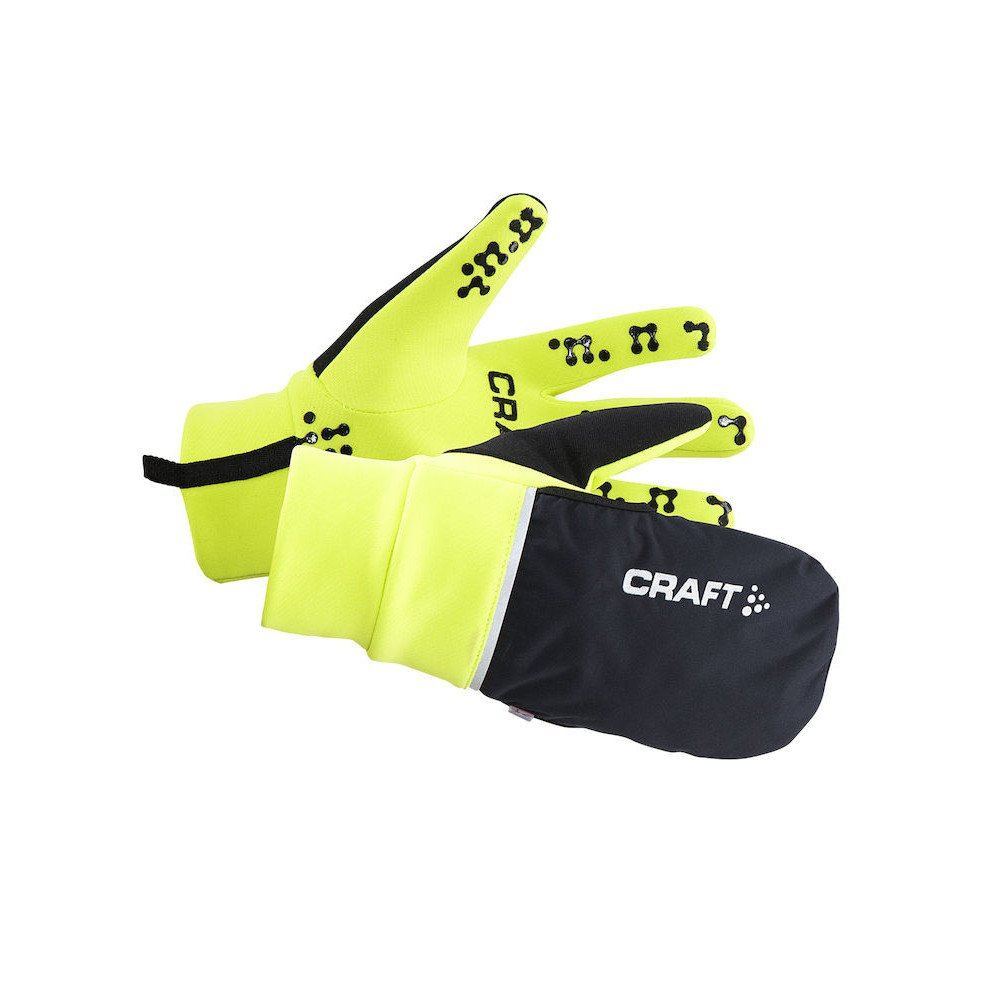 craft hybrid weather gloves czarno-Żółte