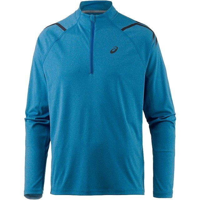 asics icon long sleeve 1/2 zip top blue / peacoat