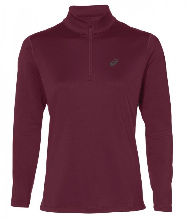 asics silver long sleeve 1/2 zip winter top performance