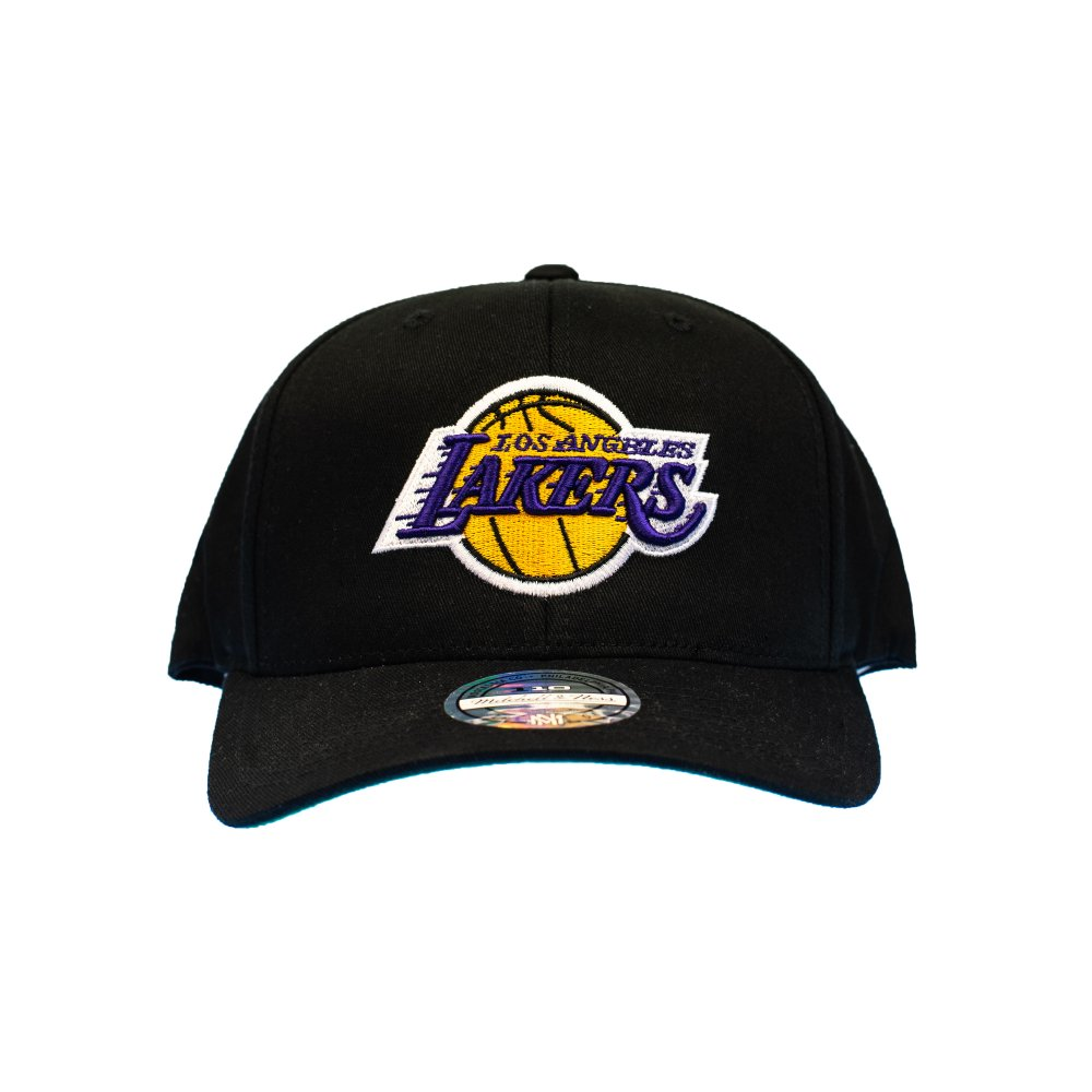 mitchell & ness nba los angeles lakers team logo high crown pinch panel 110 snapback (intl537-lalake-blk)