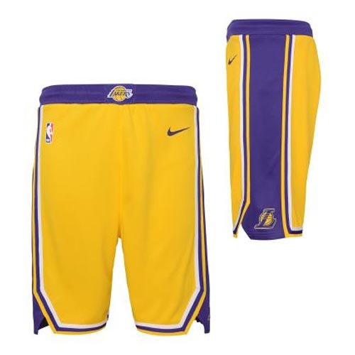 nike nba los angeles lakers swingman road short junior (ez2b7babz-lak)