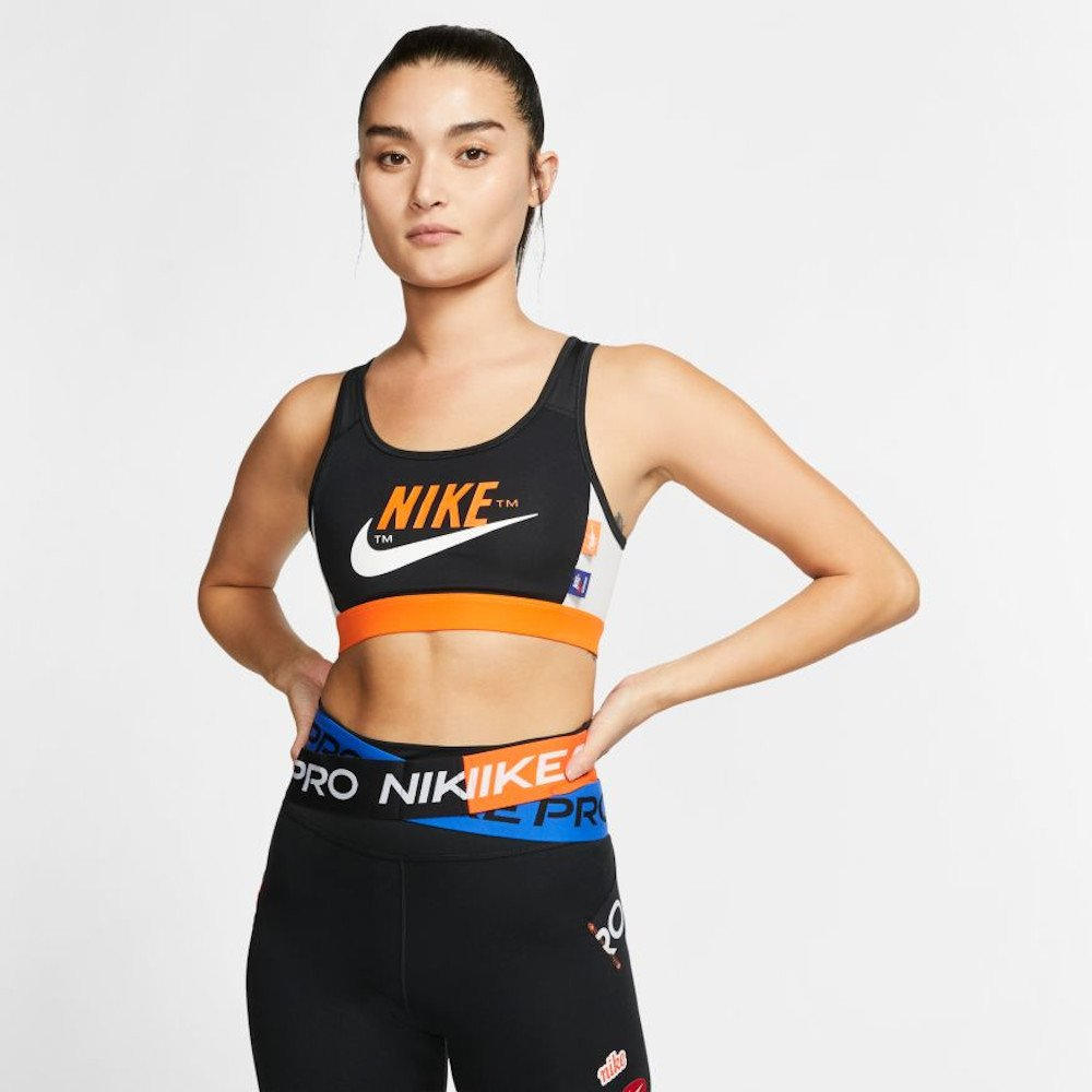 nike swoosh icon clash medium-support sports bra czarno-pomarańczowy
