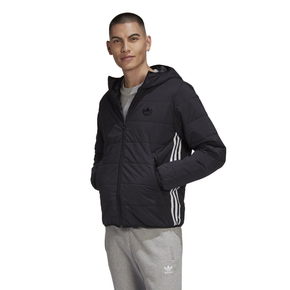 adidas lightweight zip through padded trefoil hoodie męska czarna