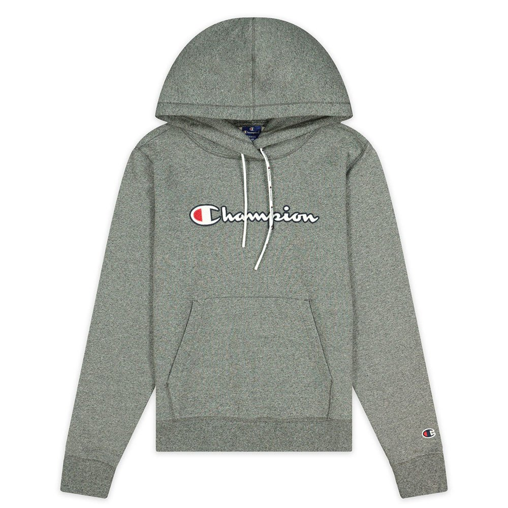 champion satin stitch script logo fleece hoodie damska szara