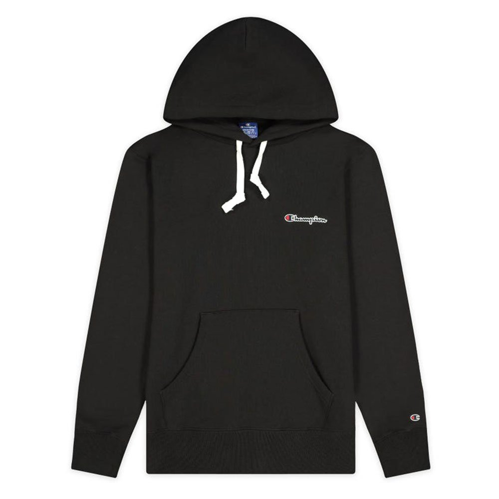 champion small script logo fleece hoodie męska czarna