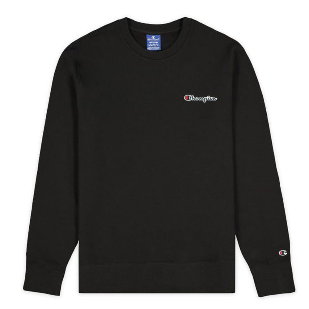 champion small script logo fleece crewneck męska czarna