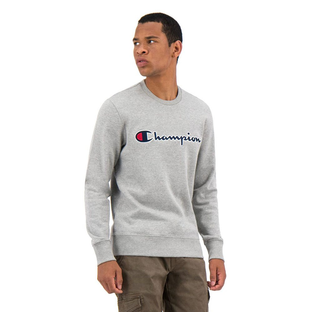 champion script logo fleece crewneck szara