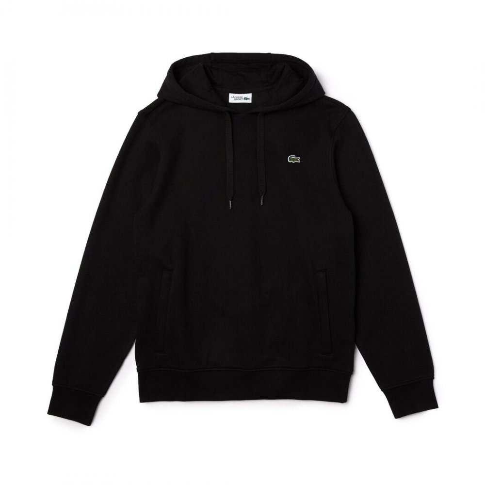 lacoste sport hooded fleece męska czarna