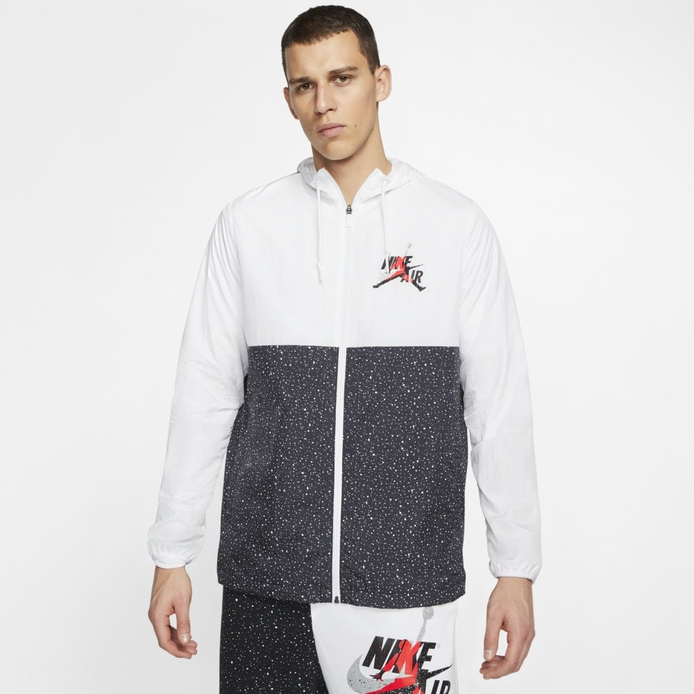air jordan classics windwear jacket white black (ct9368-100)