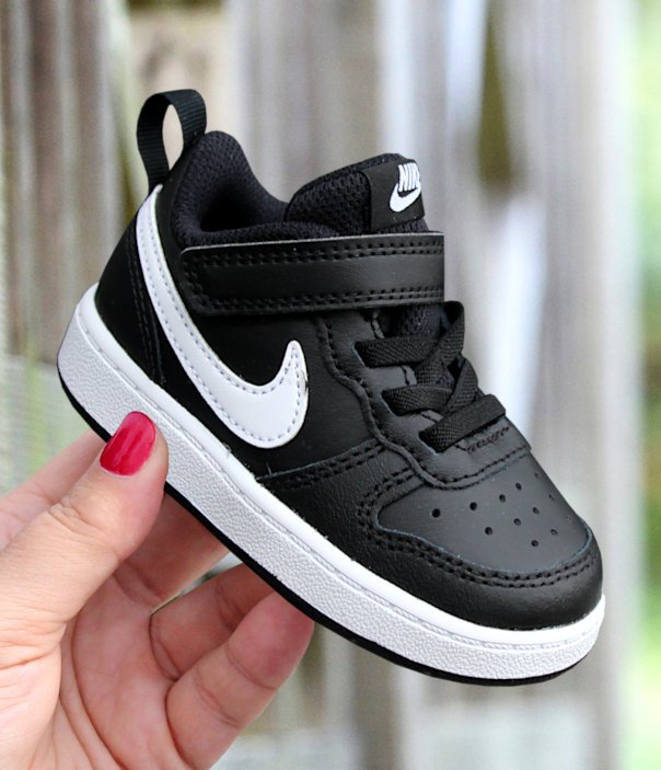 nike court borough low 2 (tdv) czarno-białe