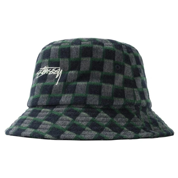 stussy brent check wool bucket hat (132995-0401)