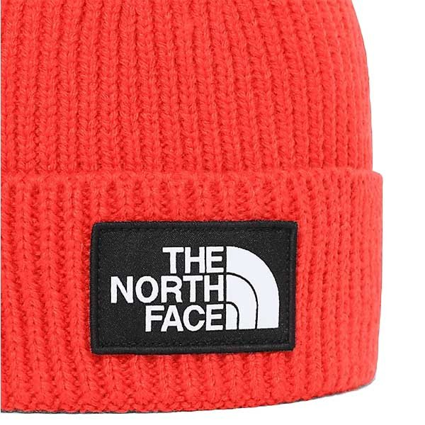 the north face blackbox logo beanie czerwona