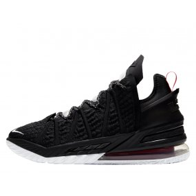 "nike lebron 18 ""black white university red"" (cq9283‑001)"