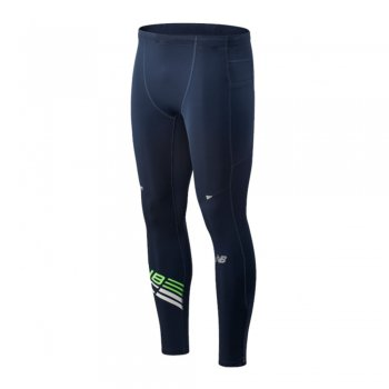 spodnie new balance tight printed impact run m granatowe